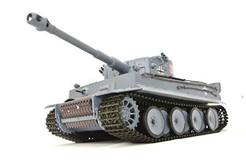 ES-TOYS Panzer Ferngesteuert mit Schussfunktion German Tiger I Heng Long 1:16 Rauch&Sound+Stahlgetriebe,2,4Ghz - V6.0 Upgrade Edition
