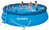 Marimex Tampa Swimmingpool, Aufblasbarer Pool für Garten mit Zubehör (Leiter, Planen, Schlaüche, Kartuschefilter), rund, 4,57 x 1,22 m