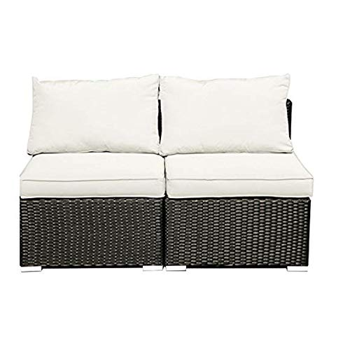 GDY Patio Outdoor Furniture Sets 2 Pieces Rattan Wicker Sectional Sofa Conversation Sets with Cushions Pillows Tea Table