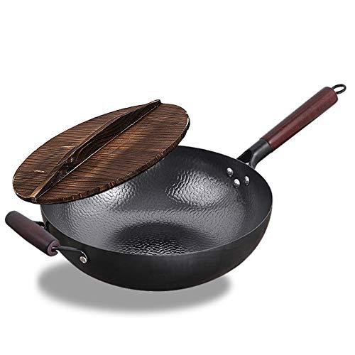 ZHBH Wok in Acciaio al Carbonio martellato a Mano con Coperchio in Legno con Manico in Legno - Padella per friggere per Cucina Cinese, Giapponese e Cantonese - Wok a Fondo Piatto per Cucina asiat
