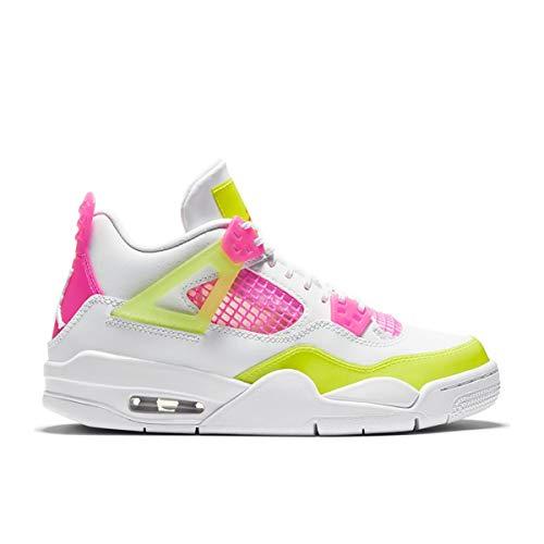Nike Air Jordan 4 Retro SE (GS), Zapatillas de básquetbol para Niños, White White Lemon Venom Pink Blast Hyper Crimson White, 39 EU
