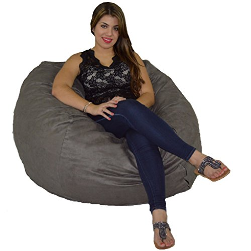 Cozy Sack Bean Bag Chair: Large 4 Foot Foam Filled Bean Bag – Large Bean Bag Chair, Protective Liner, Plush Micro Fiber Removable Cover - Grey