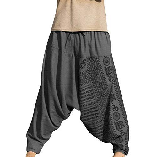 Dihope Pantalones de Estilo Hippie para Hombre, Estilo Retro, Pantalones de aladín, Pantalones Bombachos, elásticos, para el Tiempo Libre, para Correr, Deporte, Entrenar, Yoga, Playa Gris L