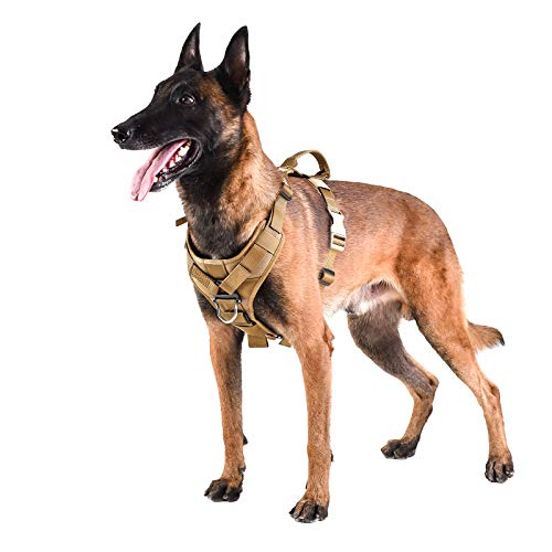 ICEFANG Tactical Dog Strap Harness Vest with Handle,Padded Front Chest Protector,5 Point Adjustable ,No-Pull Leash Attachment for Walking Training (L (Neck:18