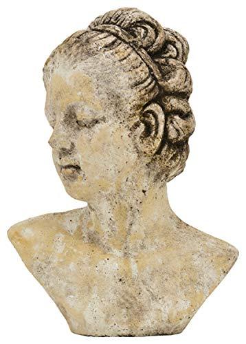 Exner Dekorative nostalgische Frauenkopf-Büste Keramik Creme antikgrau patiniert 2 mögliche Größen (groß)