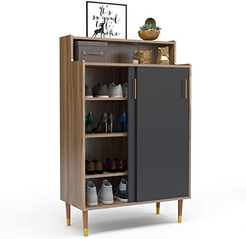 Mecor Shoe Rack Storage Cabinet 2 Door Shoebox Container Organizer Standing w Sliding Door for product image