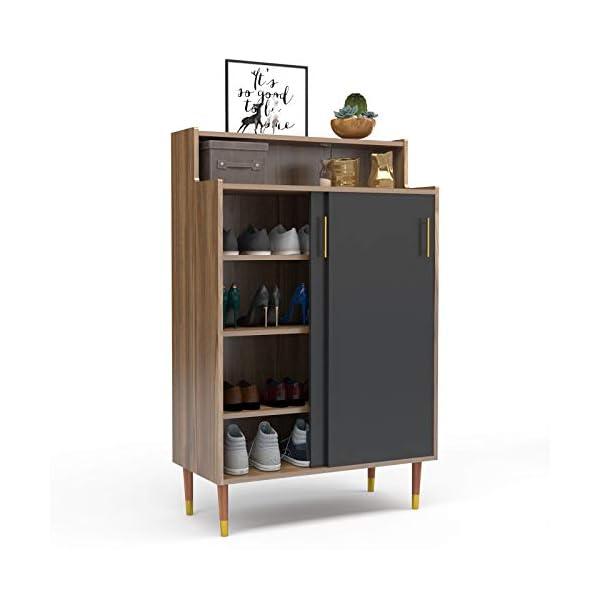 Mecor Shoe Rack Storage Cabinet, 2-Door Shoebox Container Organizer Standing w/Sliding Door for Entryway Hallway Living Room Bathroom, Walnut/Black