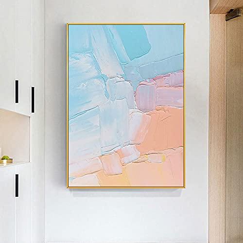 DRTWE Ölgemälde mit bunten Wolken, handgemaltes abstraktes blaues Wolkengemälde auf Leinwand, dickes Ölmesser, Palette, Bilder für Kinderzimmer, Flur, Wohnzimmer, Schlafzimmer, 60 × 90 cm, rahmenlos