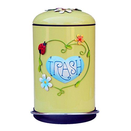 LJ Poubelle, européenne baril de galvanoplastie 8L Pp Environmental Barrel muet Lovely Children's Room Trash ( Couleur : Le jaune )