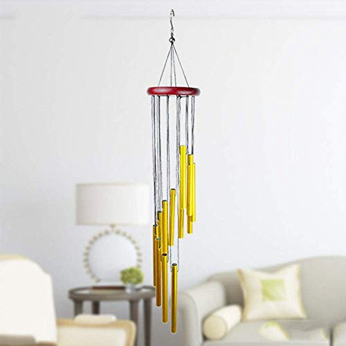 "Solid Wood 12-Tube Aluminum Tube Wind Chime, 22.8"" Wind Chime, Great As A Quality Gift or to Keep for Your Own Patio, Porch, Garden, or Backyard. (Red Wood Gold Tube)"