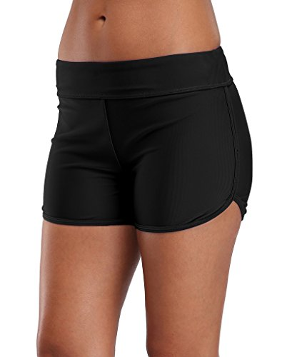 ALove Women Swimsuit Shorts Boyleg Swim Shorts Bottom Beach Shorts Black 8