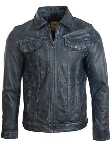 Aviatrix Herren Superweiches Echtleder Klassische Harrington Fashion Jacke (AGQ5) Gr. M/Brust 102 cm, Eisiges Blau