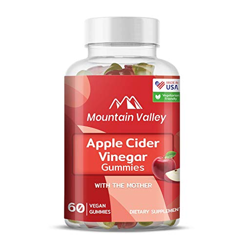 Apple Cider Vinegar Gummies with The Mother, ACV Gummies, Weight Loss Gummies for Women and Men, Vegan, Non-GMO, Pectin-Based, Delicious Apple Flavor, Mountain Valley (60 Gummies)