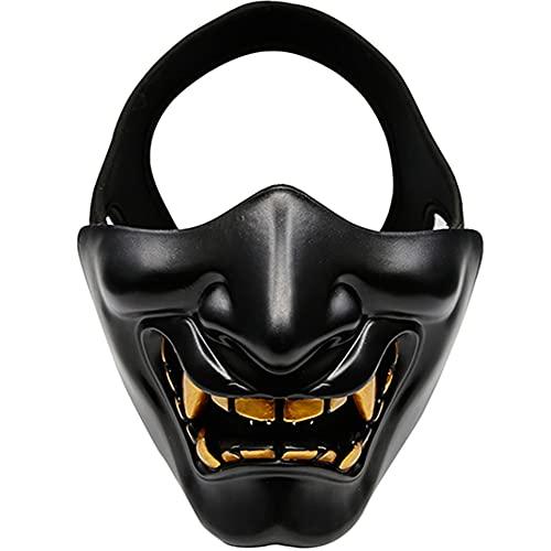 AQzxdc Maschera Tattica del Mostro del Diavolo del Cranio, protettive a metà Faccia del Demone malvagio Samurai, per Halloween BBS CS per Costumi da Gioco Ball Party Airsoft Mask,Nero