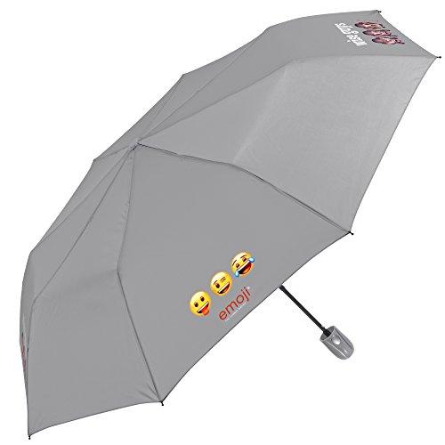 Emoji Schirm Perletti - automatischer Regenschirm - Herren/Damen Taschenschirm, leicht und klein, passt in den Rucksack/die Tasche grau mit Emojis - Automatikschirm - Durchmesser 96 cm (Grau)
