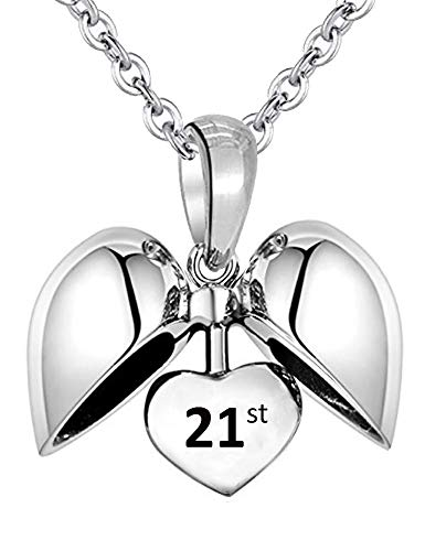 21 Birthday Celebration Heart Pendant & Necklace inscribed 21st - Sterling Silver