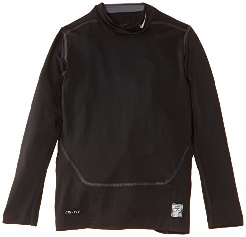 NIKE Jungen langarm Shirt Pro Combat Core Compression Mock Neck, Black/Cool Grey, S