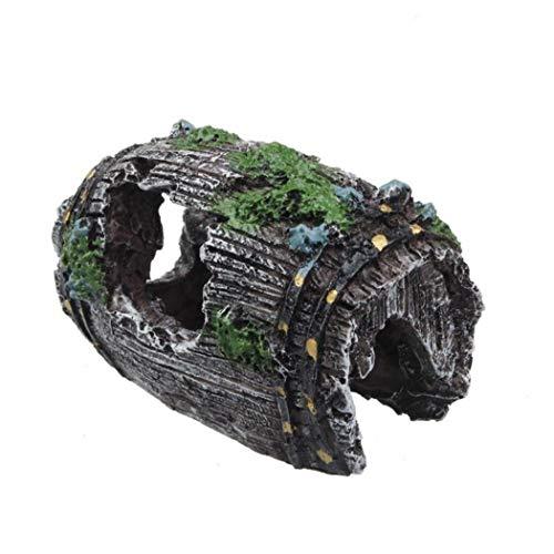 mi ji 1pc Fisch-behälter-Wein-fass-Harz Ornament Künstliche Fässer Cave Aquarium Dekoration Schwarz