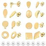 UNICRAFTALE Alrededor de 90 Pieza 9 Pendientes Hipoalergénicos de Forma Mixta con 110 Piezas Traseras de Pendiente Poste de Acero Inoxidable Componentes Pendiente de Agujero de Oro Pin de 0.7/0.8 mm