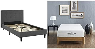 Modway Linnea Twin Bed in Gray with Modway Aveline 10