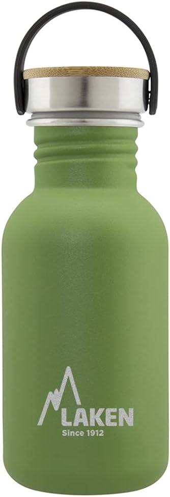 Laken Botella de Acero Inoxidable con Tapón de Rosca Acero y Bamboo y Boca Ancha 500ml, Verde Oliva