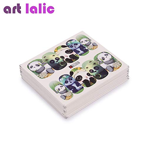 BLOUR 50 pièces conceptions mixtes autocollant à ongles Mignon Chat Chien Panda transfert D'eau décalcomanie Filigrane Nail Art décoration Pour manucure Filigrane