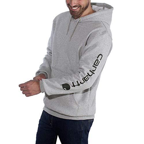 Carhartt Mens Midweight Sleeve Logo Hooded Sweatshirt, Heather Grey/Black, L