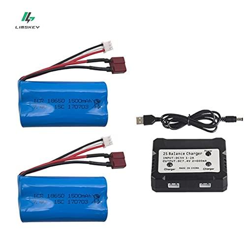 OUYBO 7.4V 1500mAh de la batería lipo con el conjunto cargador for WLTOYS 12401 12402 12403 12428 12404 12423 FY-03 AF01 AF02 Rc partes juguetes de baterías Accesorios de batería de piezas RC
