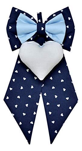 Corredino Neonato Fiocco Nascita Blu a Cuori per Bimbo da ricamare a Punto Croce su Cuore in Tela Aida - Fiocco Nascita Fai da Te Personalizzato (Blu, Standard 23x45cm)