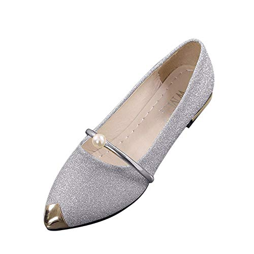Xinantime Women's Pointed Toe Comfort Flats Slip On Ballet Dressy Shoes for Women Driving Walking Shoes8 Silver