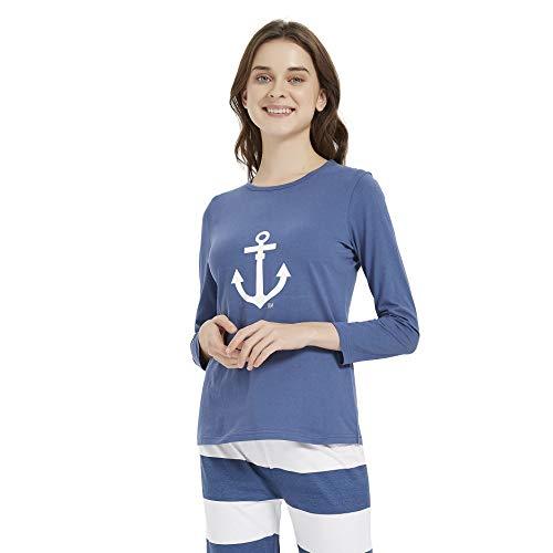 PimpamTex – Pijama de Mujer Invierno Algodón de Otoño-Invierno Camiseta Manga Larga y Pantalón Largo Estampados de Tacto Suave (M, Marinera Azul)