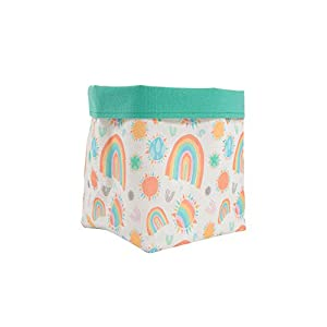 Pavilion Gift Company Sunshine and Rainbows 8 Inch Canvas Baby Clothes/Toys Storage Basket