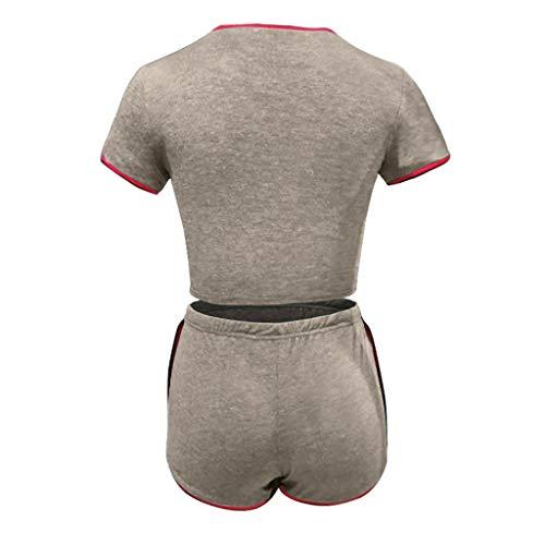 BEIBEA Short Et T-Shirt De Yoga Femme,Survêtement Ensemble sans Couture Manches Longues Taille Haute élastique en Cours ExéCution Fitness Set,sous-Vêtements De Sport,Short Pantalon De Survêtement