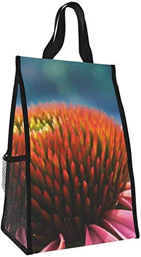 Bolsa de aislamiento plegable, bolsa de almuerzo portátil de flores rosadas, bolso de picnic de gran capacidad para viajes de oficina de trabajo