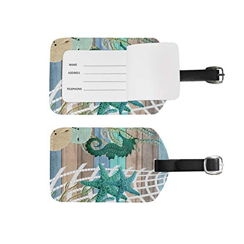 Luggage Tags Address Name Holder,2Pcs Portable Identifier Label Set Checked Card Bag Decoration Travel Gear Gifts,Seahorse Beach Design for Suitcases Bags