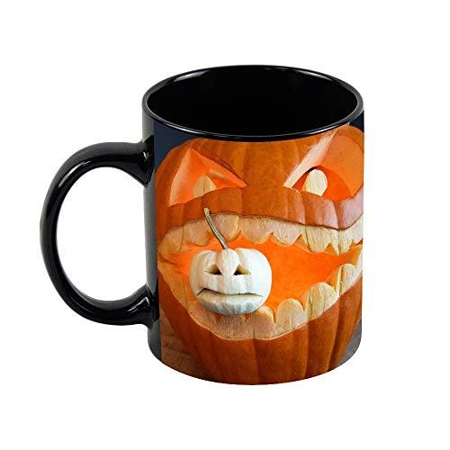 11oz Funny Coffee Mug, Carving Pumpkin Coffee Tea Cup Funny Mug Novelty Coffee Mug for Men Women Birthday Festival Christmas and Halloween