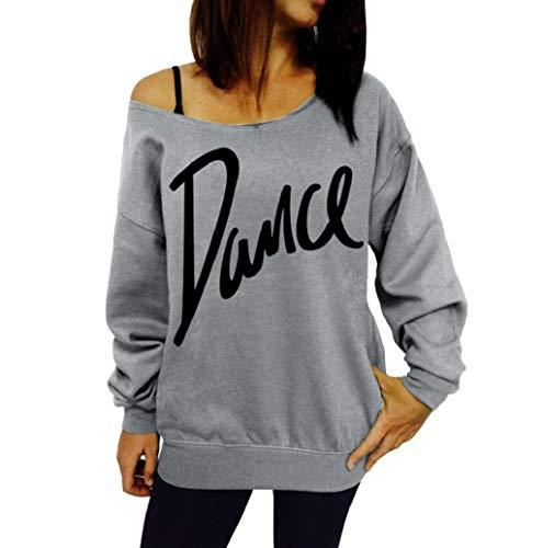 Sweat-Shirt Femmes, LONUPAZZ Femme Casual Épaule Pull Manches Longues Slim T Shirt Elégante Casual Lettre Dance ImpriméS Tops