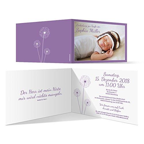 10 x Taufkarten Taufeinladungen Einladungskarten Taufe Einladung - Pusteblume in Lila