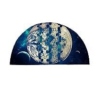 月 地球 パズル 半円形 ドアマット 50*80cm デザイン フォトショップ 壁紙 滑り止め 速乾 吸水 丸洗い 風 オールシーズン適用 風呂 浴室 台所