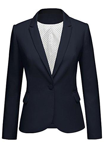 LookbookStore Women's Navy Notched Lapel Pocket Button Work Office Blazer Jacket Suit Size S