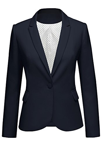 Women's Notched Lapel Neck Long Sleeves One Button Pocket Blazer Jacket Wear to Work Suit Navy Blue-1 Size L