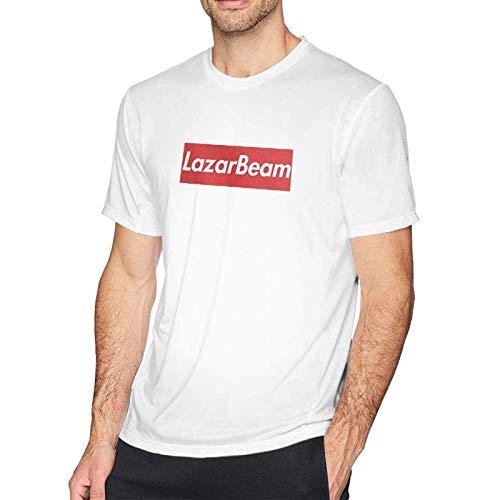 VJSDIUD Camiseta de Hombre con patrón de Moda Lazar Beam Camiseta de Manga Corta de Verano Camiseta Blanca