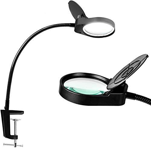 SKYYUNS LEDルーペデスクライト クリップ付き 5W卓上ライト 10倍(20倍)の倍率拡大鏡を搭載 折りたたみ式拡大鏡テーブルランプ レンズ径10.8cm 角度調整可能