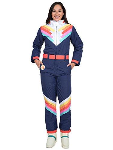Classic Striped Blue Ski Suit for Women Tipsy Elves Santa Fe Shredder Size Large