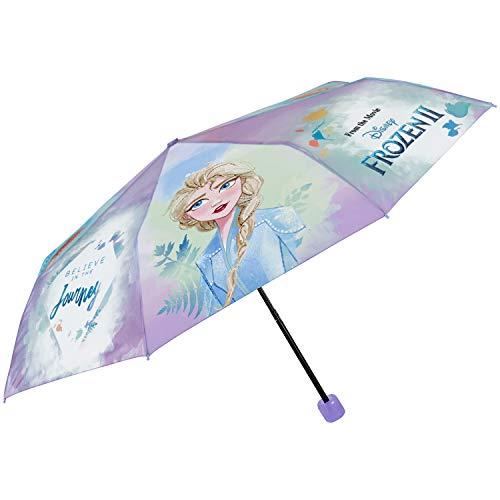 Regenschirm Taschenschirm Frozen 2 Mädchen - Kinderschirm Disney die Eiskönigin mit ELSA Anna - Reise Mini Kinder Schirm Robust Windischer - Klein Kind 7+ Jahren - Durchmesser 91 cm - Perletti (Lila)