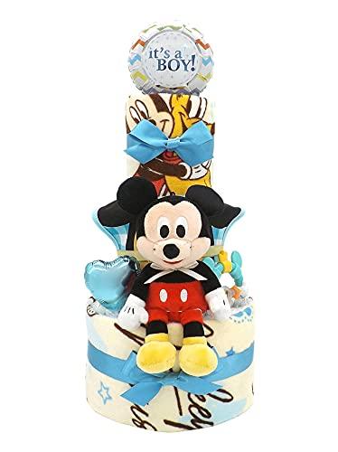 おむつケーキ ディズニー ミッキーマウス タオルセット&ベビーグッズ付き 3段 男の子用 ck-630 (パンパースMサイズ)