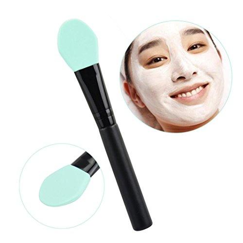 Toamen professionnelle Mask PoignéE Brosse En Bois Visage Facial Masque De Boue MéLange De Brosse CosméTiques De Maquillage ( Menthe verte)