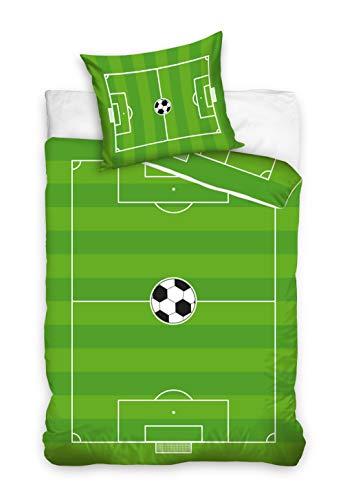 Carbotex Fussball Bettwäsche Fußballplatz Stadion Bettbezug 135x200 + 80x80 cm Fußball Ball Sport Grün mit Verschluss