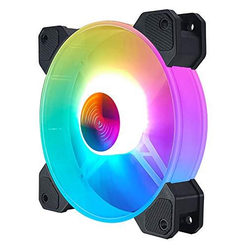 ZHEBEI Ventilador ARGB 12cm chasis ventilador PWM control de temperatura 5V placa base sincrónico CPU refrigeración refrigeración agua ventilador