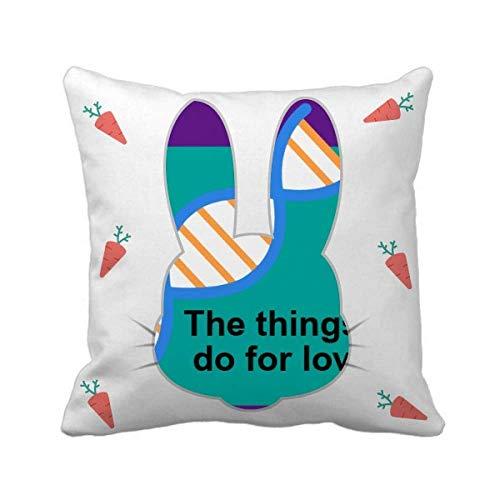 OFFbb-USA Capa de almofada quadrada Things I Do for Love Rabbit